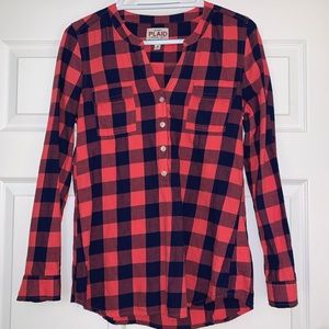 Old Navy Pink Blue Plaid Flannel Popover Shirt
